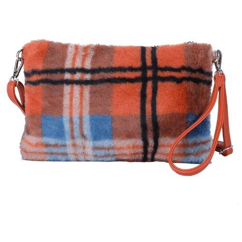Сумка кросс-боди OrsOro, искусственный мех, клетка оранжево-черная сумка тоут orsoro cw 967