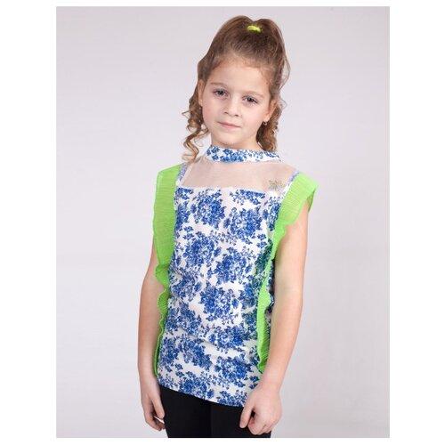 Блузка Nota Bene размер 140, белый/голубой/салатовый