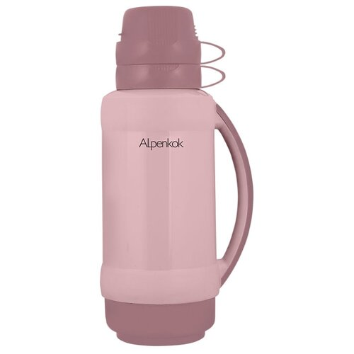 Классический термос Alpenkok со стеклянной колбой (1 л) бежево-розовый