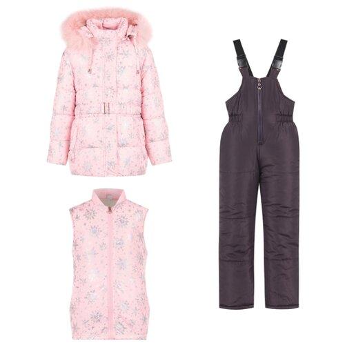 Купить Комплект с полукомбинезоном Fun time FW19BK06MO размер 122, розовый/серый, Комплекты верхней одежды