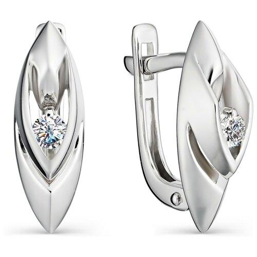 АЛЬКОР Серьги с 2 бриллиантами из белого золота 22967-200 алькор серьги с 2 бриллиантами из белого золота 22821 200