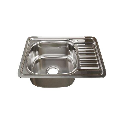 Врезная кухонная мойка 58 см Mixline 48х58 (0,8) 3 1/2 левая нержавеющая сталь/глянец врезная кухонная мойка 51 см mixline d51 0 6 3 1 2 нержавеющая сталь глянец