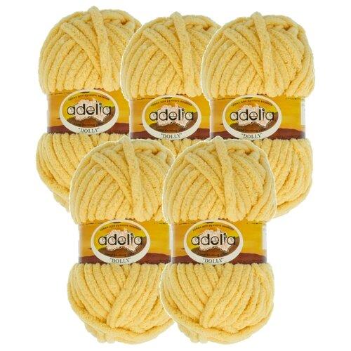 Купить Пряжа Adelia Dolly однотонная, 100 % полиэстер, 100 г, 40 м, 5 шт., №03 св.желтый