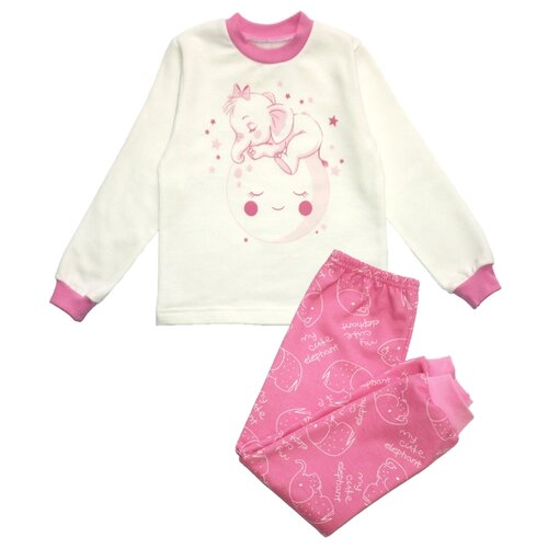 Пижама Веселый Малыш размер 98, белый/розовый пижама веселый малыш размер 104 розовый