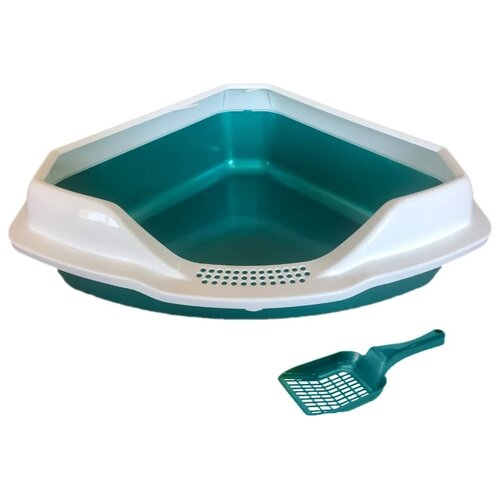 Туалет-лоток для кошек Homecat 65115/65116/65117/3156319/3516333/3516326/3516302 56х42х18 см бирюзовый перламутр