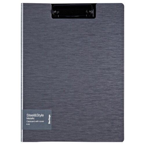 Купить Berlingo Папка-планшет с зажимом с крышкой Steel&Style A4, пластик серый, Файлы и папки