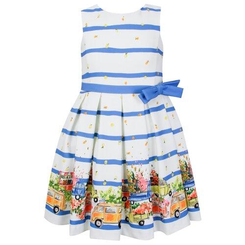 Платье Abel & Lula размер 116, полоска/белый/синий/желтый