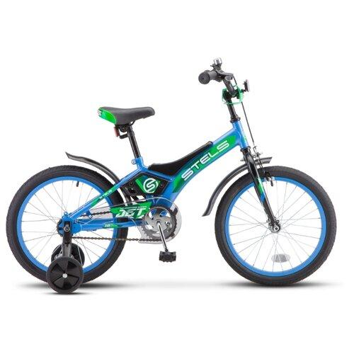Фото - Детский велосипед STELS Jet 18 Z010 (2020) голубой/зеленый 10 (требует финальной сборки) городской велосипед stels navigator 300 lady 28 z010 2018 фиолетовый 20 требует финальной сборки