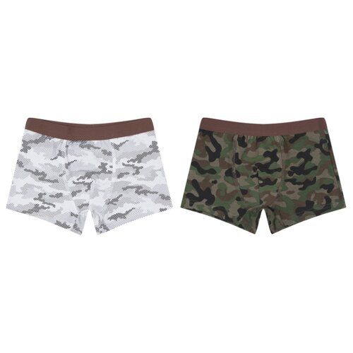 Купить Трусы Leader Kids 2 шт., размер 110-116, белый/серый/зеленый, Белье и пляжная мода