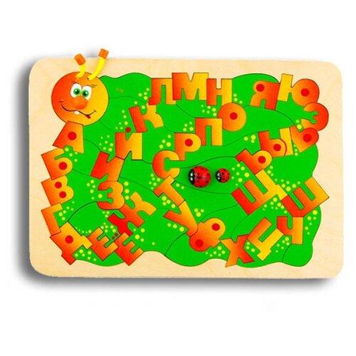 Рамка-вкладыш Крона Буквоежка (143-045), 59 дет. красный/зеленый рамка вкладыш крона азбука в картинках 143 073 50 дет
