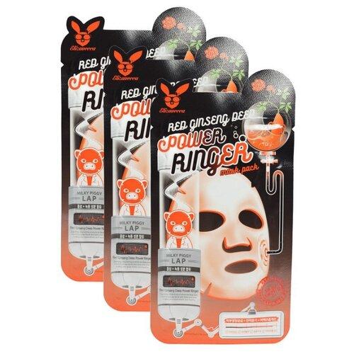 Elizavecca регенерирующая тканевая маска с экстрактом красного женьшеня Red Ginseng Deep Power Ringer Mask Pack, 23 мл, 3 шт.