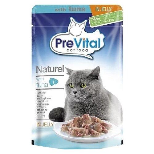 Влажный корм для кошек PreVital с тунцом 2 шт. х 85 г (кусочки в желе) влажный корм для кошек prevital с индейкой 28 шт х 85 г кусочки в желе
