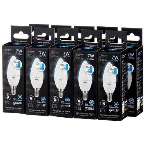 Упаковка светодиодных ламп 10 шт gauss 103101207-S, E14, C38, 7Вт лампа светодиодная gauss 103101207 d e14 c38 7вт