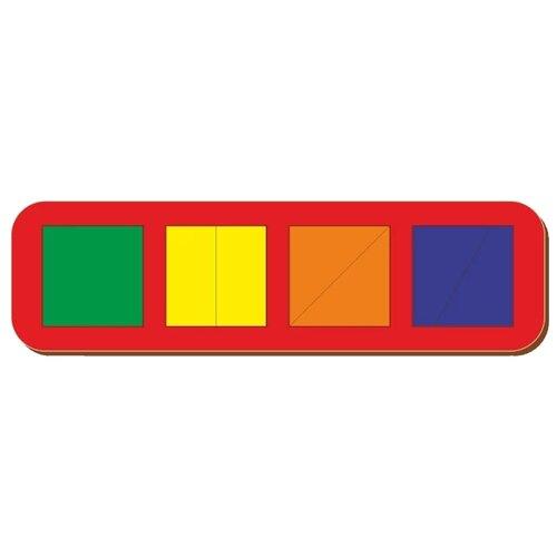 Купить Головоломка Woodland Сложи квадрат 4 квадрата уровень 1 (064501) разноцветный, Головоломки
