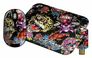 Мышь Ed Hardy Wireless mouse+pad+USB flash Full Color Black USB