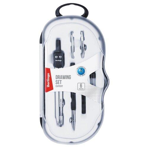 Купить Berlingo Готовальня Expert 6 предметов (DS_00606) черный/серебристый, Чертежные инструменты