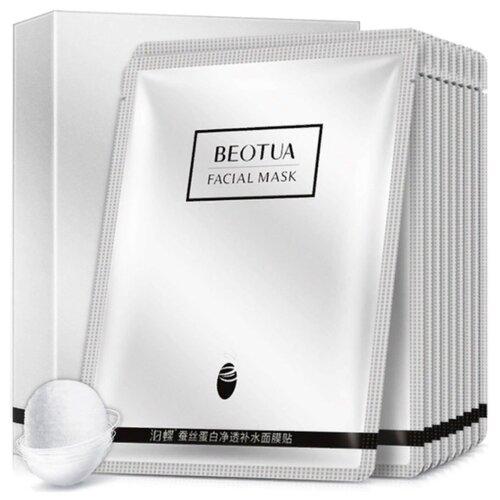 Beotua Увлажняющая маска для лица с гиалуроновой кислотой и протеином шелка, 10 шт.