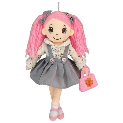Игрушка-брелок ABtoys Кукла в сером сарафане и с сумочкой 30 см