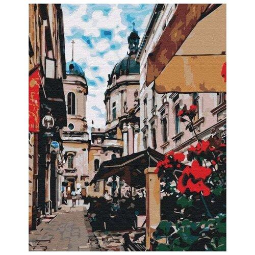 Купить Картина по номерам Улица с кафе , 40x50 см, Цветной, Картины по номерам и контурам