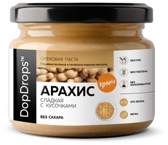 DopDrops Паста ореховая Арахис Кранч сладкая с кусочками стекло