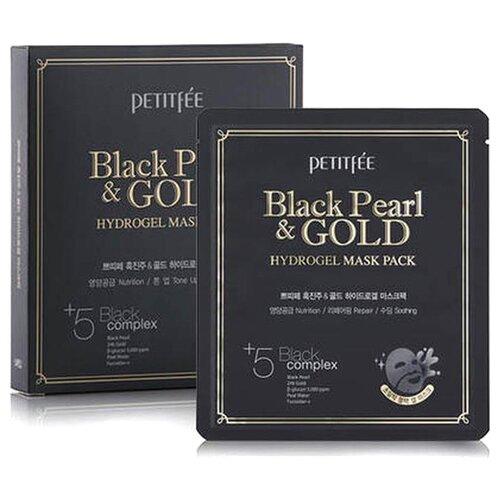Petitfee Гидрогелевая маска для лица с черным жемчугом и золотом, 32 г, 5 шт. недорого