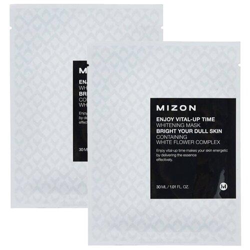 Mizon Enjoy Vital-Up Time Whitening Mask осветляющая тканевая маска, 30 мл, 2 шт. тканевая маска mizon bio collagen ampoule mask объем 27 мл