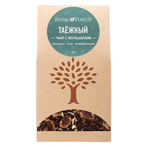 Чай черный и пуэр Royal Forest Таежный с женьшенем, 75 г plum snow черный листовой чай пуэр 80 г плетеная банка
