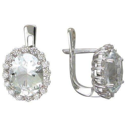 Эстет Серьги с топазами и бриллиантами из белого золота 01С627161-7