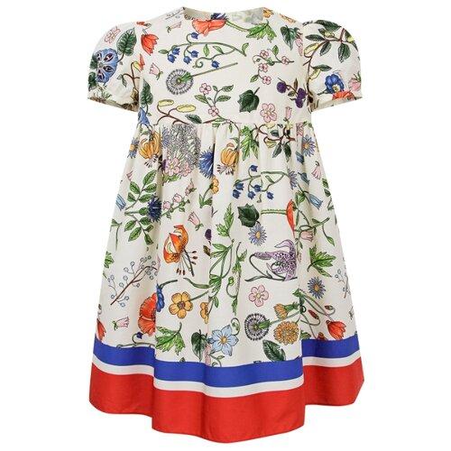Платье GUCCI размер 92, кремовый/цветочный принт