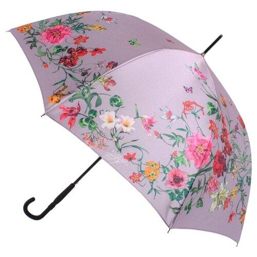 Зонт-трость полуавтомат FLIORAJ 050219 FJ лиловый/цветы зонт трость женский flioraj 290401 fj полиэстер teflon полуавтомат цвет мультиколор