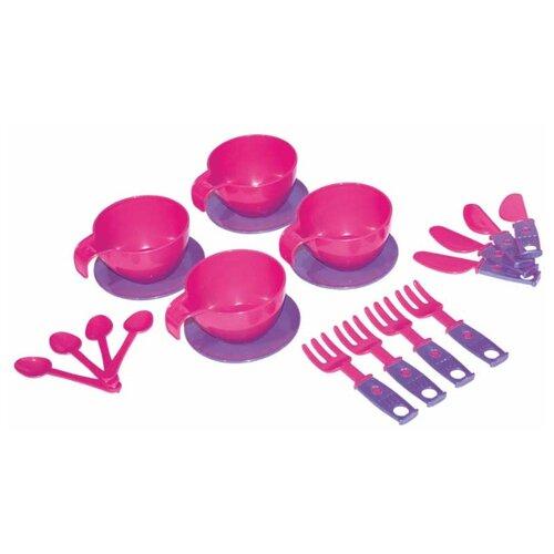 Купить Набор посуды ZEBRATOYS Для завтрака 15-10037-4 розовый/фиолетовый, Игрушечная еда и посуда