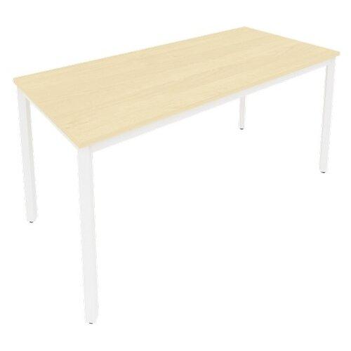 Письменный стол Рива Slim С.СП, ШхГ: 158х72 см, цвет: металл белый/клён