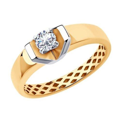 SOKOLOV Кольцо из золота с фианитом 018383, размер 19.5