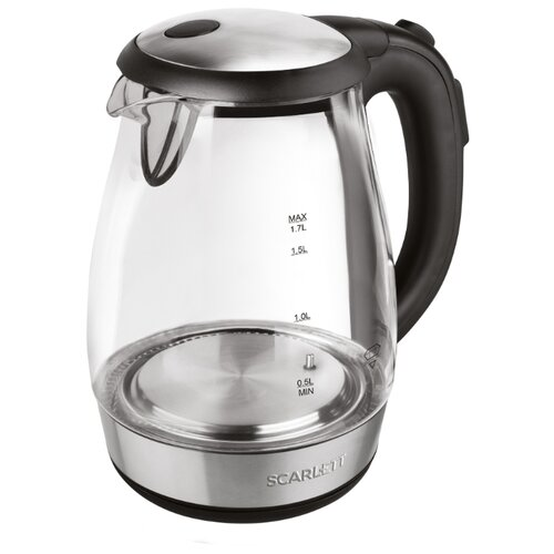 Фото - Чайник Scarlett SC-EK27G60, черный/серебристый чайник электрический scarlett sc ek27g60