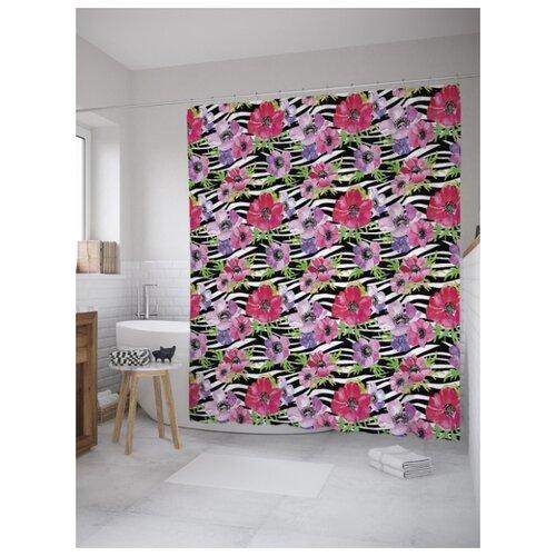 Штора для ванной JoyArty Цветы на зебровом поле 180х200 (sc-8549) разноцветный