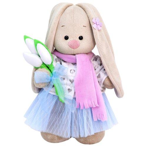 Мягкая игрушка Зайка Ми с белыми тюльпанами 25 см фото