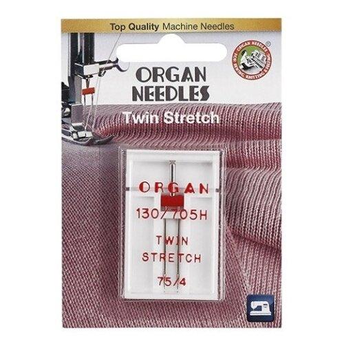 Игла/иглы Organ Twin Stretch 75/4 красный/серебристый