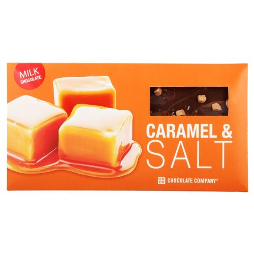 Шоколад CHCO Два вкуса Карамель и соль, молочный, 100 г chco chocbar xl de luxe milk 40% молочный шоколад с клубникой 300 г