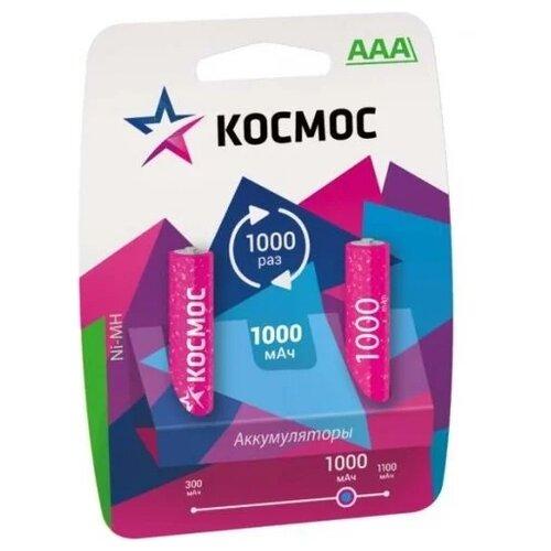 Аккумулятор Ni-Mh 1000 мА·ч КОСМОС R03NIMH 1000MAH 2 шт блистер аккумулятор ni mh 2700 ма·ч эра c0038458 2 шт блистер