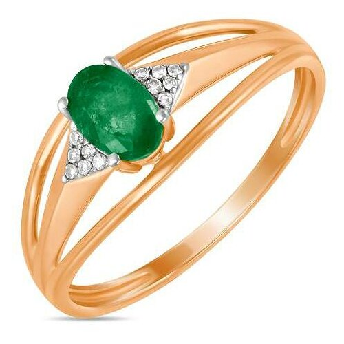 ЛУКАС Кольцо с изумрудом и бриллиантами из красного золота R01-D-70648R002-R17, размер 16.5 фото