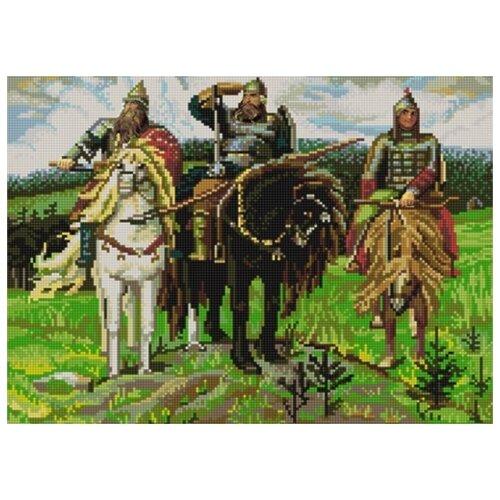 Купить Три богатыря В.Васнецов (рис. на сатене 29х39) 29х39 Конек 9765, Конёк, Канва