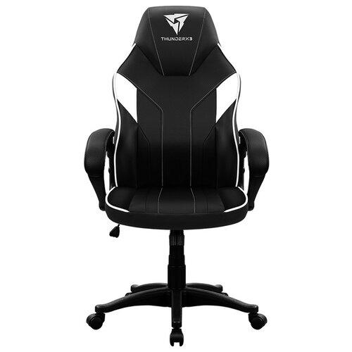 Компьютерное кресло ThunderX3 EC1 игровое, обивка: искусственная кожа, цвет: черно-белый кресло компьютерное игровое thunderx3 tgc12 bg черный зеленый 4710700959572
