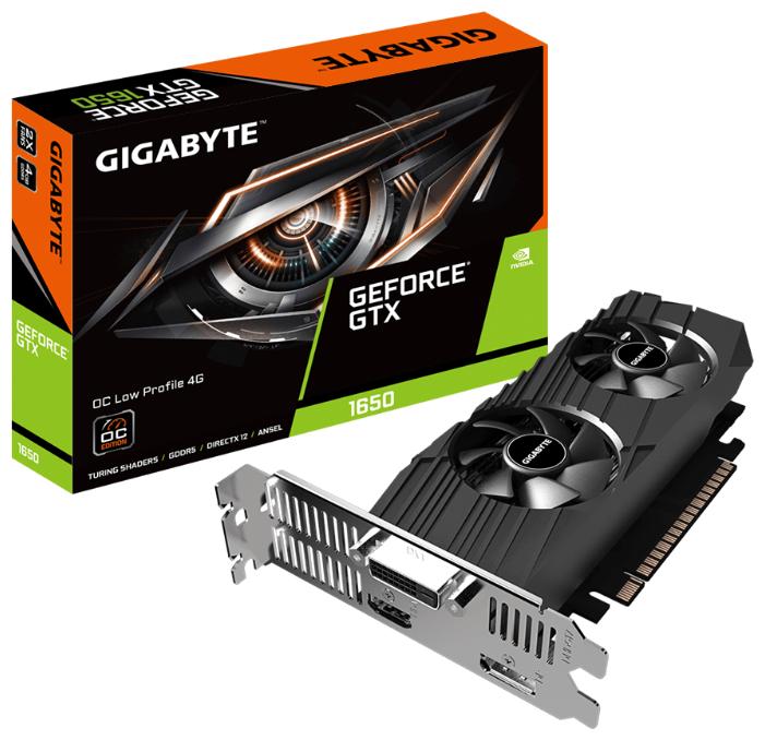 Видеокарта GIGABYTE (GV-N1650OC-4GL) GeForce GTX 1650 1695MHz PCI-E 3.0 4096MB 8002MHz 128 bit DVI HDMI DisplayPort HDCP Low Profile