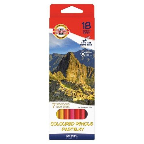 Купить KOH-I-NOOR Карандаши цветные 7 чудес света, 18 цветов (3653018027KSRU), Цветные карандаши