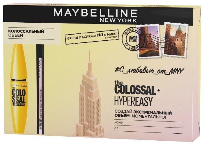 Maybelline New York Набор: тушь для ресниц Colossal volum' express, жидкий лайнер для глаз Hyper easy