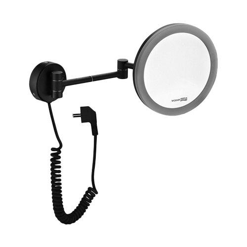 Зеркало косметическое настенное WasserKRAFT K-1004 с подсветкой черный