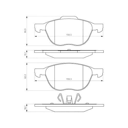 Фото - Дисковые тормозные колодки передние Bosch 0986495215 для Ford Focus, Mazda 3 (4 шт.) дисковые тормозные колодки передние ferodo fdb4446 для mazda 3 mazda cx 3 4 шт