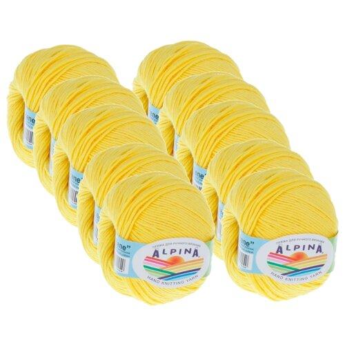 Пряжа Alpina Rene, 100 % хлопок, 50 г, 150 м, 10 шт., №179 яр.желтый Alpina   фото