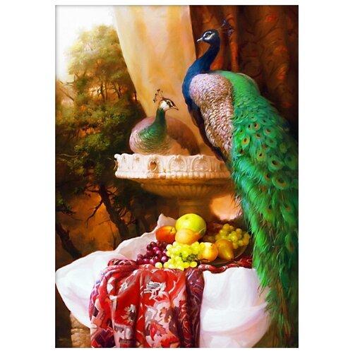Фото - Пара павлинов Набор для выкладывания стразами 50х70 Алмазная живопись АЖ-1825 павлинов