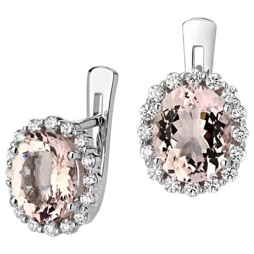Эстет Золотые серьги с бриллиантами, морганитом 01С627161-2